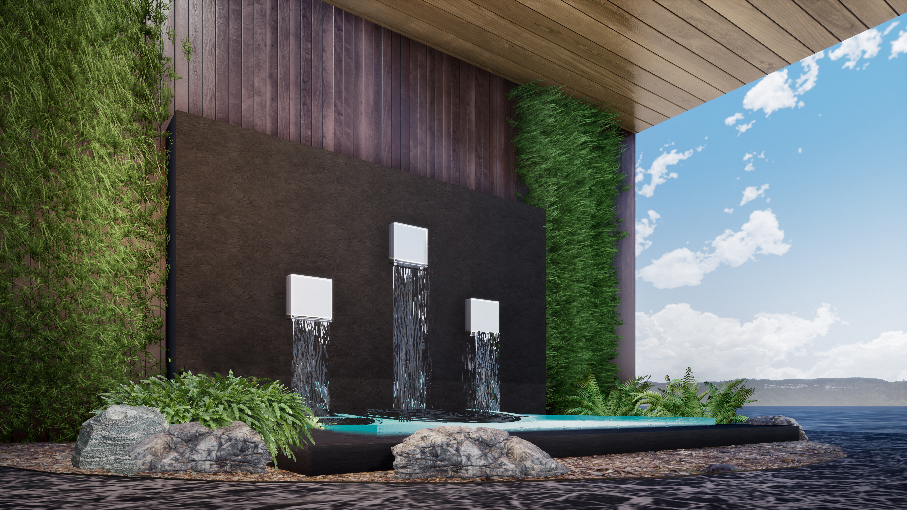 Boxed-Water Curtain
