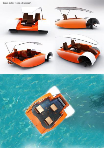 Spinning boat for surfing the seashore